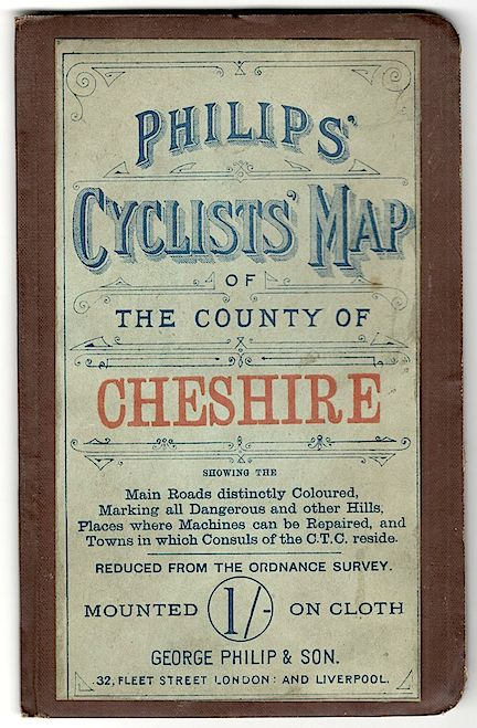 Philips' Cyclists' Map of the County of Chishire; Showing the Main Roads Distinctly Coloured, etc. Philip.