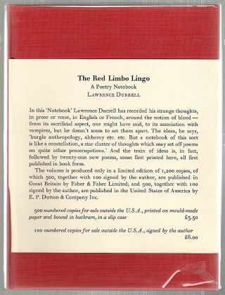 Red Limbo Lingo; A Poetry Notebook. Lawrence Durrell