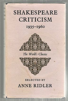 Shakespeare Criticism; 1935-60. Anne Ridler.