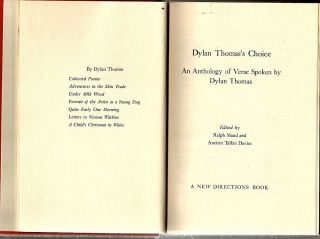 Dylan Thomas's Choice; An Anthology of Verse Spoken by Dylan Thomas