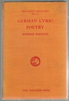German Lyric Poetry. Norman Macleod