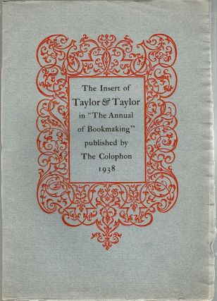 Annual of Bookmaking; Insert of Taylor & Taylor. Louise Farrow Barr